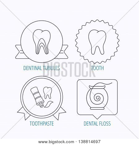 Tooth, dentinal tubules and dental floss icons. Toothpaste linear sign. Award medal, star label and speech bubble designs. Vector