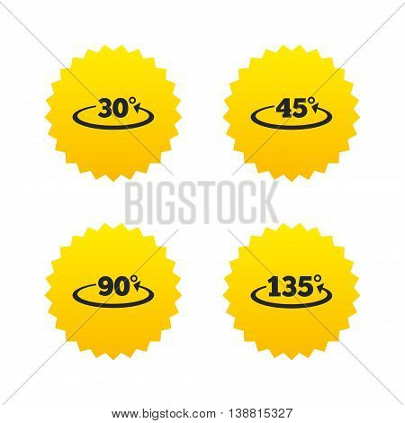 Angle 30-135 degrees icons. Geometry math signs symbols. Full complete rotation arrow. Yellow stars labels with flat icons. Vector