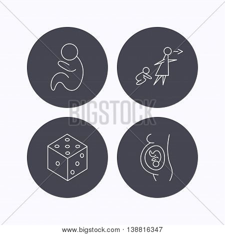 Pregnancy, paediatrics and dice icons. Unattended linear sign. Flat icons in circle buttons on white background. Vector