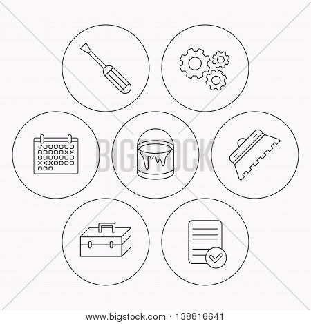 Screwdriver, trowel of tile and repair toolbox icons. Bucket of paint linear sign. Check file, calendar and cogwheel icons. Vector