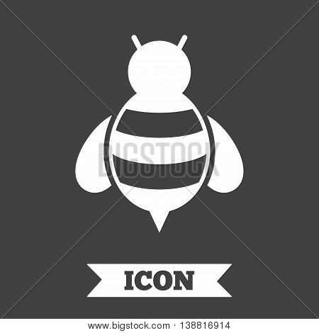 Bee sign icon. Honeybee or apis with wings symbol. Flying insect. Graphic design element. Flat bee symbol on dark background. Vector