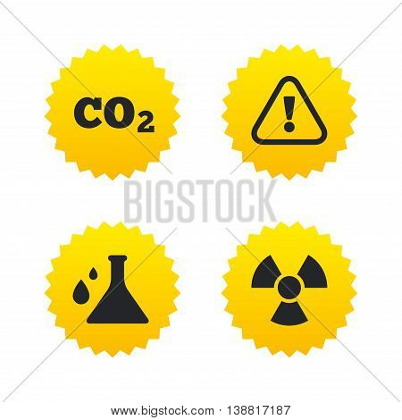 Attention and radiation icons. Chemistry flask sign. CO2 carbon dioxide symbol. Yellow stars labels with flat icons. Vector