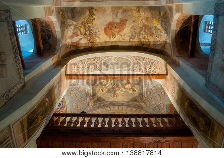 VELIKY NOVGOROD RUSSIA-JULY 15 2016.Architecture elements- decorated arched ceiling with paintings of Bible scenes and choirs in the interior of St Nicholas Cathedral. Soft filter applied