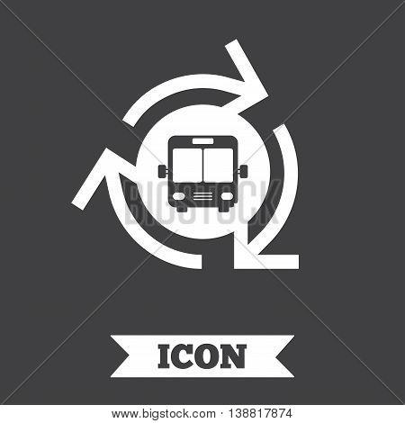 Bus shuttle icon. Public transport stop symbol. Graphic design element. Flat bus shuttle symbol on dark background. Vector