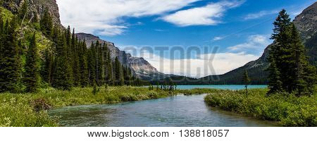 Lake Josephine at Many Glaciers, Glaciers National Park, Montana