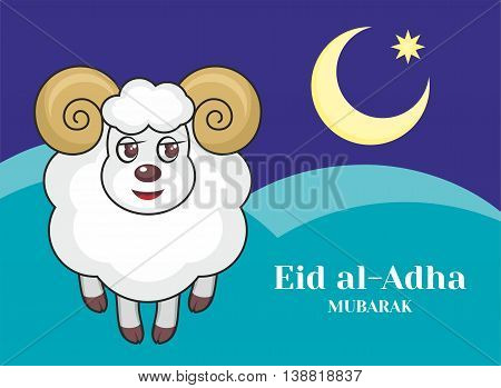 Feast of the Sacrifice greeting card   with the image of a sacrificial ram and a half moon
