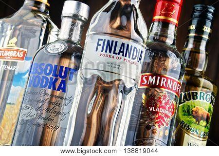 POZNAN POLAND - JULY 15 2016: vodka is the world
