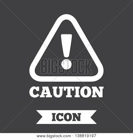 Attention caution sign icon. Exclamation mark. Hazard warning symbol. Graphic design element. Flat caution symbol on dark background. Vector
