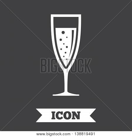 Glass of champagne sign icon. Sparkling wine with bubbles. Celebration or banquet alcohol drink symbol. Graphic design element. Flat champagne glass symbol on dark background. Vector