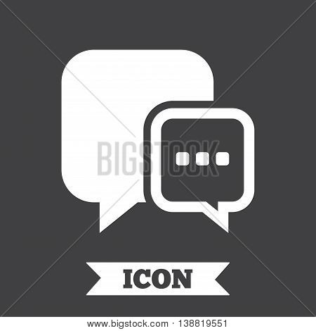 Chat sign icon. Speech bubble with three dots symbol. Communication chat bubble. Graphic design element. Flat message symbol on dark background. Vector