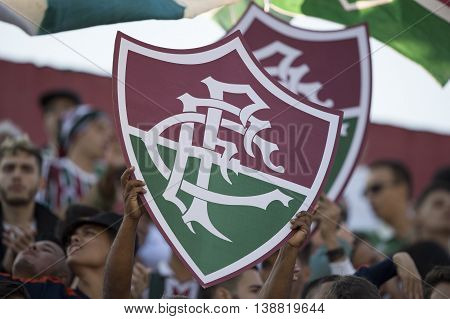 Rio de Janeiro Brazil - April 10 2016: Fan Shield in match between Fluminense and Cruzeiro by the Brazilian championship in the Giulite Coutinho Stadium