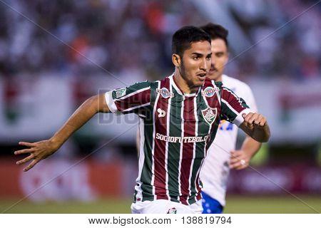 Rio de Janeiro Brazil - April 10 2016: Igor Juliao player in match between Fluminense and Cruzeiro by the Brazilian championship in the Giulite Coutinho Stadium