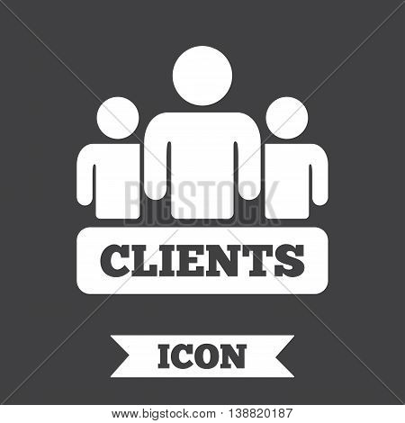 Clients sign icon. Group of people symbol. Graphic design element. Flat clients symbol on dark background. Vector