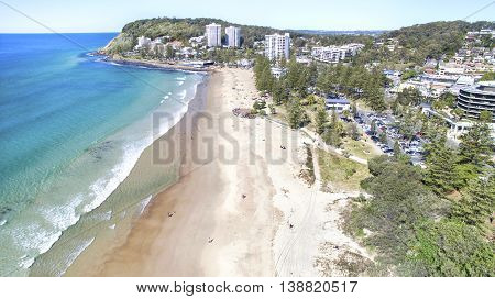 Aerial view of Burleigh beach and headland in the horizon. Gold Coast, Australia
