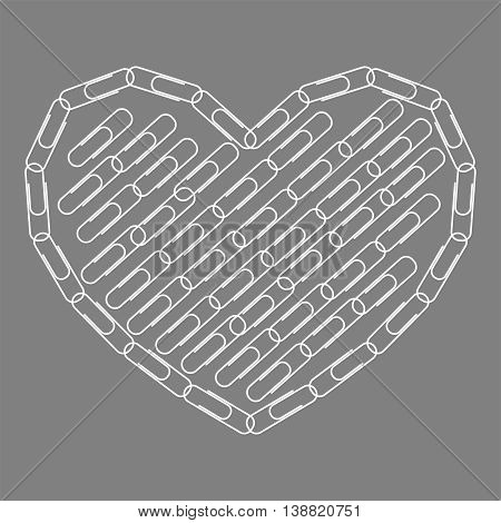 Paperclips Heart.  Heart laid out from paperclips