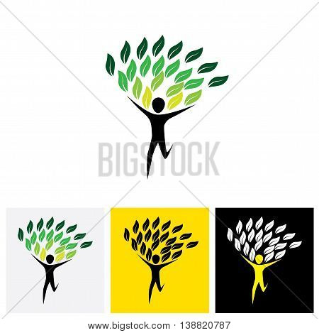 Joyous Lively Person As Tree - Concept Vector Logo Icon