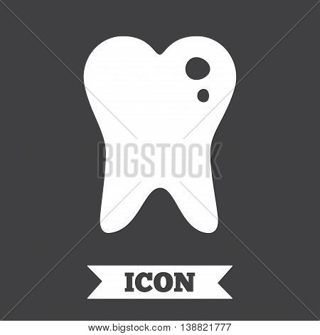 Caries tooth icon. Tooth filling sign. Dental care symbol. Graphic design element. Flat caries symbol on dark background. Vector