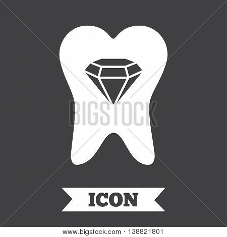 Tooth crystal icon. Tooth jewellery sign. Dental prestige symbol. Graphic design element. Flat tooth symbol on dark background. Vector