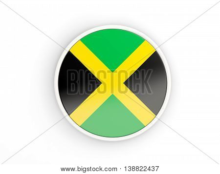 Flag Of Jamaica. Round Icon With Frame