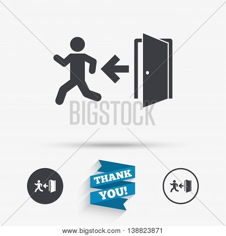 Emergency exit with human figure sign icon. Door with left arrow symbol. Fire exit. Flat icons. Buttons with icons. Thank you ribbon. Vector