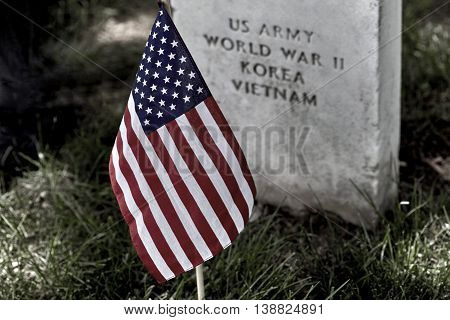 American Flag On A Soldiers Gravesite