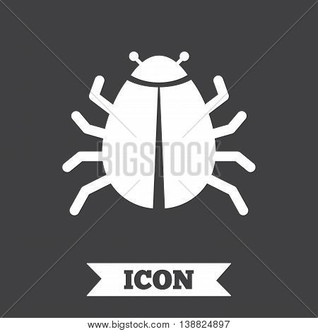 Bug sign icon. Virus symbol. Software bug error. Disinfection. Graphic design element. Flat bug symbol on dark background. Vector