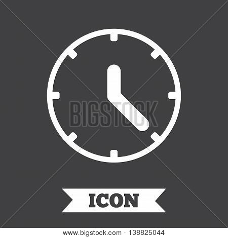 Clock sign icon. Mechanical clock symbol. Graphic design element. Flat clock symbol on dark background. Vector