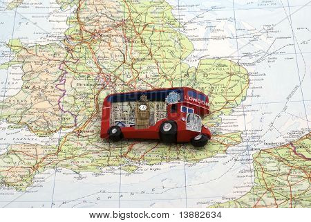 London bus magnet over England