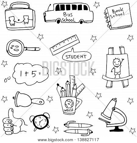 Object school doodles collection stock vectoor illustration