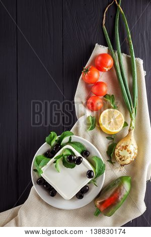 Ingredients for cooking Greek salad. Flat lay