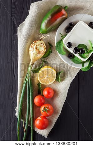 Ingredients for cooking Greek salad. Flat lay