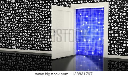 Open white backdoor in a black wall with eyes leading to a network cybersecurity surveillance concept 3D illustration
