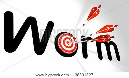 Three silver arrows with a shield texture hitting the word worm where the letter o is partially covered by a circular target 3D illustration cybersecurity concept