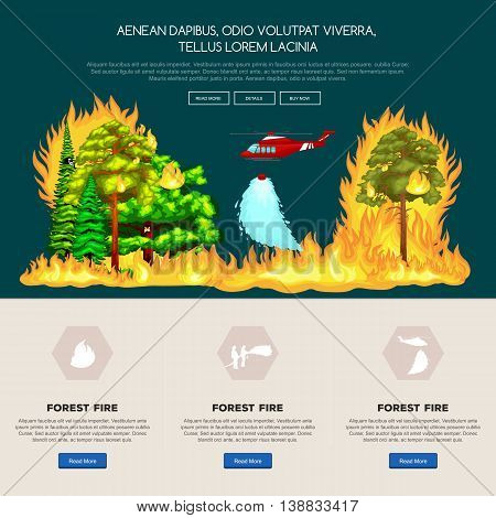 Forest Fire, fire in forest landscape damage, nature ecology disaster, hot burning trees, danger forest fire flame with smoke, blaze wood background vector illustration. Wildfire burning tree in red and orange color. poster