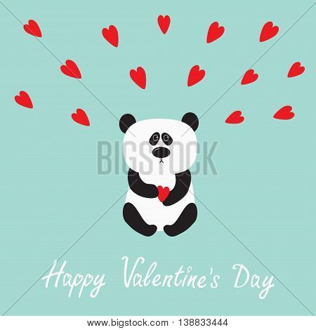 Panda baby bear. Cute cartoon character holding red heart. Wild animal collection for kids. Blue background with hearts. Happy Valentines day. Love greeting card. Flat design. Vector illustration