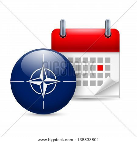 Calendar and round NATO flag icon on white background