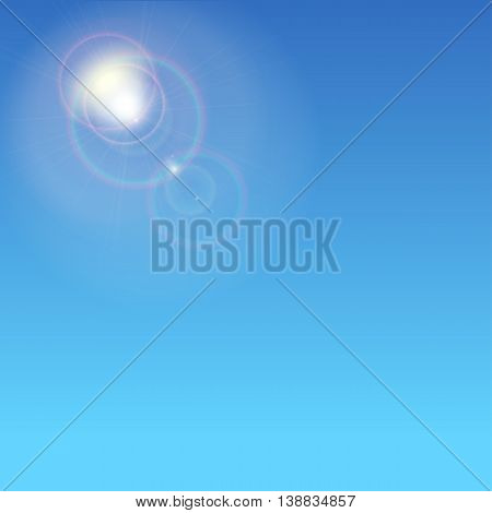 Sunburst with sun flare. Abstract glowing ring from the sun. Glare and rays on a blue background with glow halo