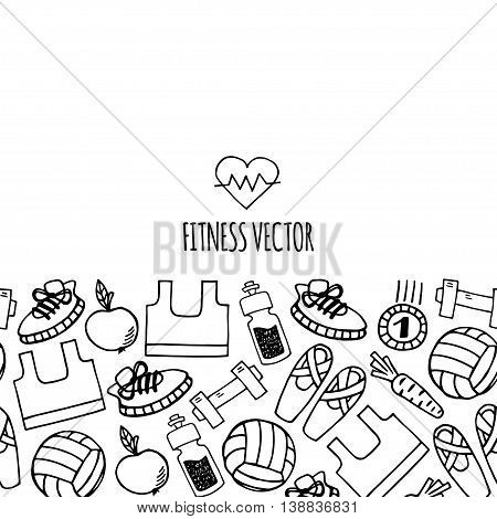 Fitness horizontall banner white and black vector. Healthy lifestyle background