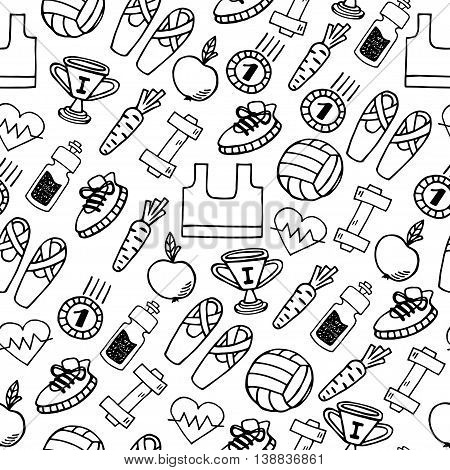 Fitness hand drawn white and black vector seamless pattern. Healthy lifestyle background