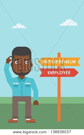An african-american man standing at road sign with two career pathways. Man choosing career pathway. Man making a decision of his career pathway. Vector flat design illustration. Vertical layout.