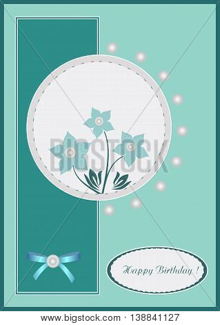 Beautiful abstract scaleable vector illustration background with flower Happy Birthday