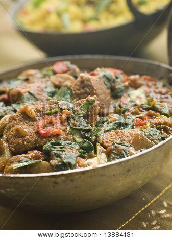 Karai Dish with Lamb Methi Gosht and Vegetable Pilau poster