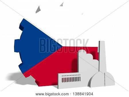 Czech industry relative concept. Factory icon and gear textured by national flag. 3D rendering