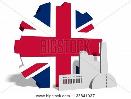 Great Britain industry relative concept. Factory icon and gear textured by national flag. 3D rendering