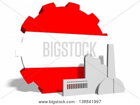 Austria industry relative concept. Factory icon and gear textured by national flag. 3D rendering