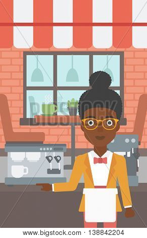 An african-american young female barista sanding in front of coffee machine. Barista at coffee shop. Professional barista making a cup of coffee. Vector flat design illustration. Vertical layout.
