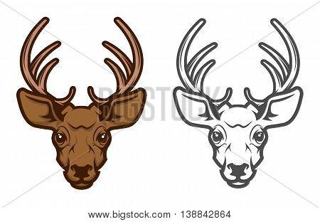 Deer head mascot. Design element for logo label emblem sign badge. Vector illustration.