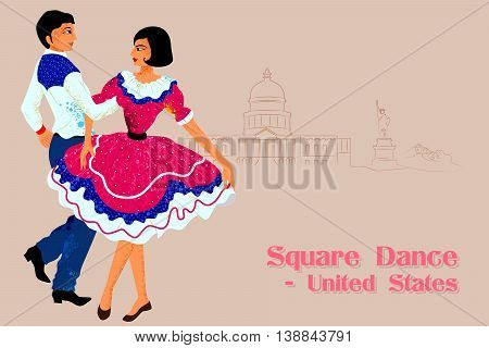 Vector design of Couple performing Square dance of United States of America