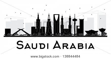 Saudi Arabia City skyline black and white silhouette. Simple flat concept for tourism presentation, banner, placard or web site. Business travel concept. Cityscape with landmarks