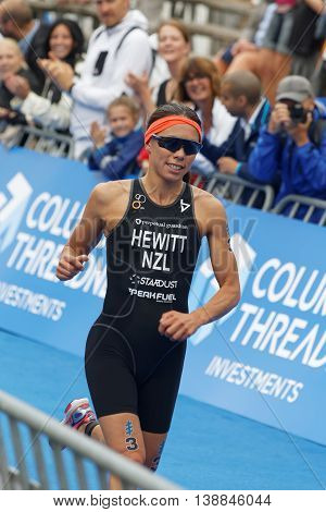 STOCKHOLM - JUL 02 2016: Triathlete Andrea Hewitt (NZL) running at the finish in the Women's ITU World Triathlon series event July 02 2016 in Stockholm Sweden